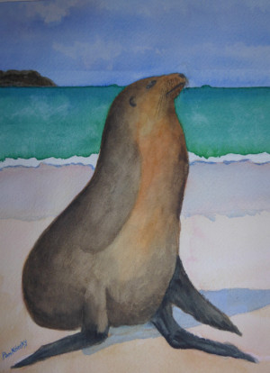 "82 - ""Basking Sea"" by Pamela Krinsky - Watercolor - 8""x10"" - NFS - contact pjkrinsky@aol.com"