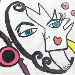 "84 - ""Fantasy Face"" by Maris Prost - Acrylic - 12""x12"" - $150  - contact siram_1@comcast.net"