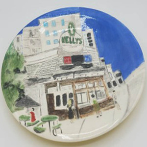 """85 - """"Kelly's at the Beach"""" by Maris Prost - Ceramic Plate - 12"""" round - $125  - contact siram_1@comcast.net"""
