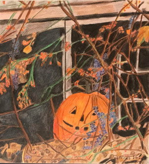 """86 - """"Fall is Here"""" by Dolores Venetsanakos - Watercolor w color pencil - 17""""x19"""" - $150 framed - contact dfvenet@yahoo.com"""