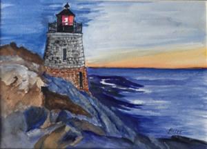 "91 - ""Rhode Island Lighthouse"" by Britt Daw - Watercolor  - 16""x12"" - $150  - contact brittdaw@hotmail.com"