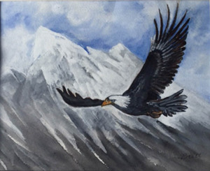 """92 - """"Eagle over Mont Blanc"""" by Britt Daw - Watercolor  - 16""""x11"""" - $150  - contact brittdaw@hotmail.com"""