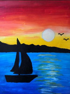 "93 - ""Sail Away"" by Aanya Gupta - Acrylic w Pencil - 12""x9"" - $50  - contact deepa.jhaveri@gmail.com"