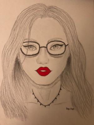 "94 - ""Red Lips"" by Aanya Gupta - Acrylic - 10""x7"" - $50  - contact deepa.jhaveri@gmail.com"