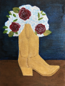 "95 - ""Boot Bouquet"" by Yvonne Blacker - Acrylic - 6""x8"" - $300  - contact yvonneblacker@gmail.com"