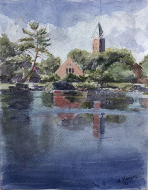 23A. Church on The River by Anne  Rogers
