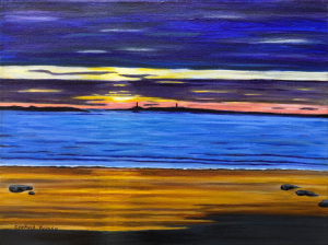 29A. Dusk at Long Beach, Gloucester, MA (Twin Towers) by Cynthia Ruocco