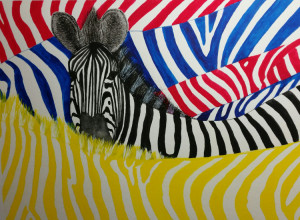 15A. Zebra Hiding in the Primary Colors by Philip Hermann